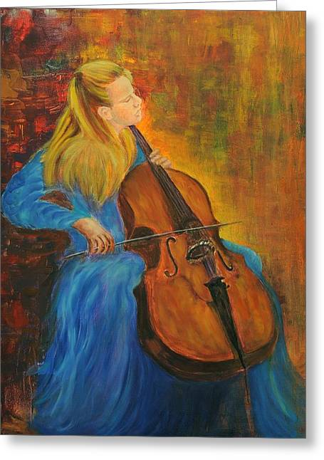 1987 Paintings Greeting Cards - Jacqueline Du-Pre Greeting Card by Rachel Asherovitz