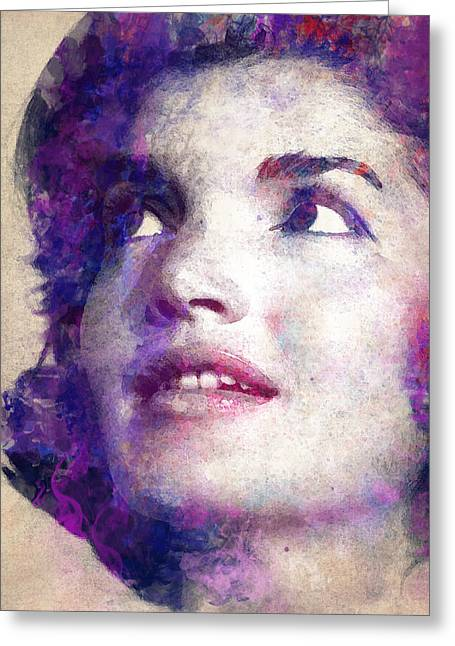 Jacqueline Kennedy Onassis Greeting Card by Angela Boyko