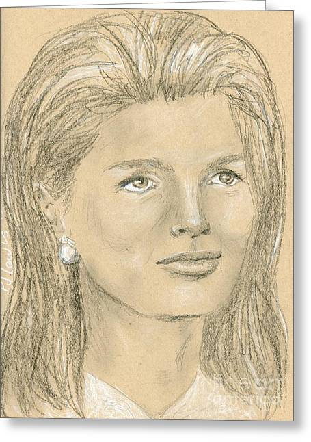 Charcoal Portrait Greeting Cards - Jacqueline Kennedy Greeting Card by P J Lewis
