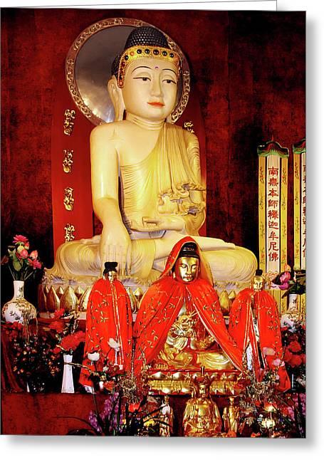 Asian Art Greeting Cards - Jade Buddha Jingan Temple Shanghai Greeting Card by Christine Till