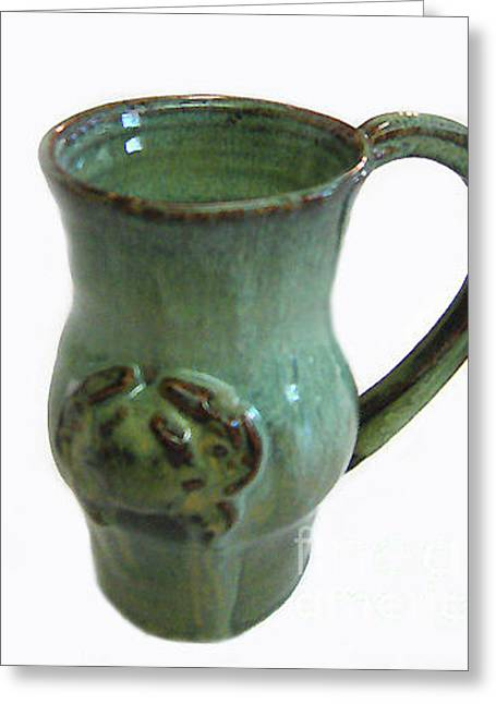 Biloxi Pottery Greeting Cards - Jade Crab Mug Greeting Card by Vernon Nix
