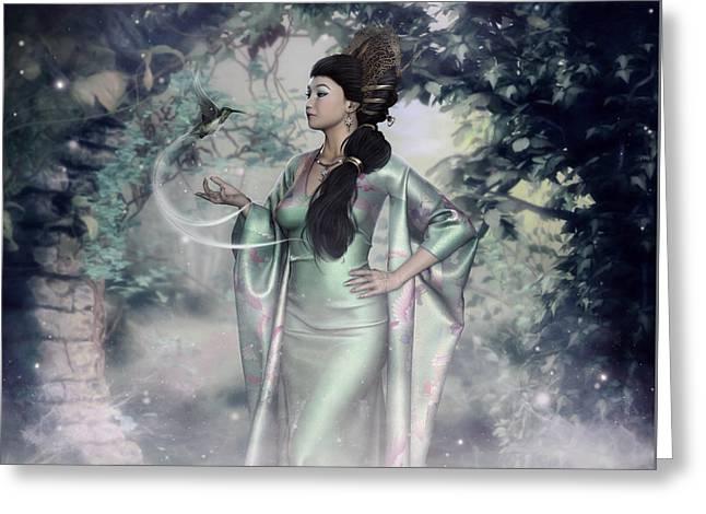 Garden Scene Digital Greeting Cards - Jade Green Empress Greeting Card by Rachel Dudley