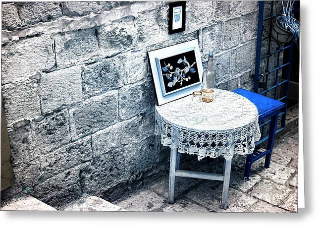 Table And Chairs Greeting Cards - Jaffa Street Scene Greeting Card by John Rizzuto