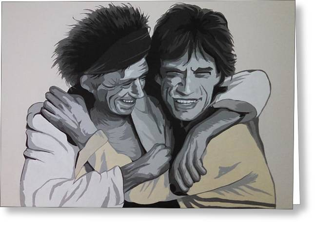 Keith Richards Paintings Greeting Cards - Jagger/richards Greeting Card by Ken Jolly