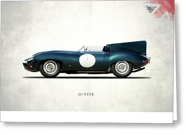 E Type Greeting Cards - Jaguar D-Type Greeting Card by Mark Rogan