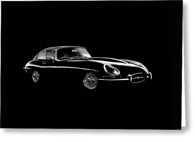 E Type Greeting Cards - Jaguar E Type Black Edition Greeting Card by Mark Rogan