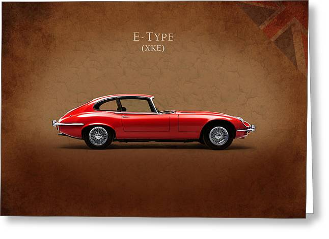 Jags Greeting Cards - Jaguar E Type Greeting Card by Mark Rogan