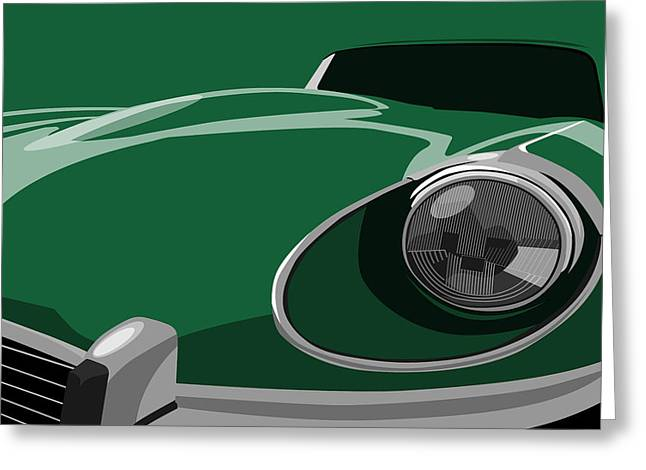 Chic Greeting Cards - Jaguar E-Type Greeting Card by Michael Tompsett