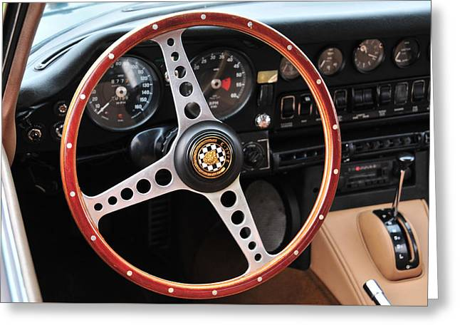 Jaguars Greeting Cards - Jaguar E Type Steering Wheel Greeting Card by Mike Martin