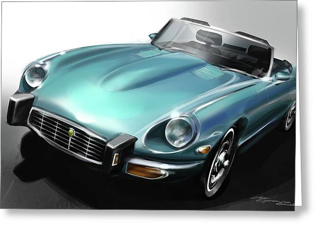 Automobile Artwork. Greeting Cards - Jaguar E-Type Greeting Card by Uli Gonzalez