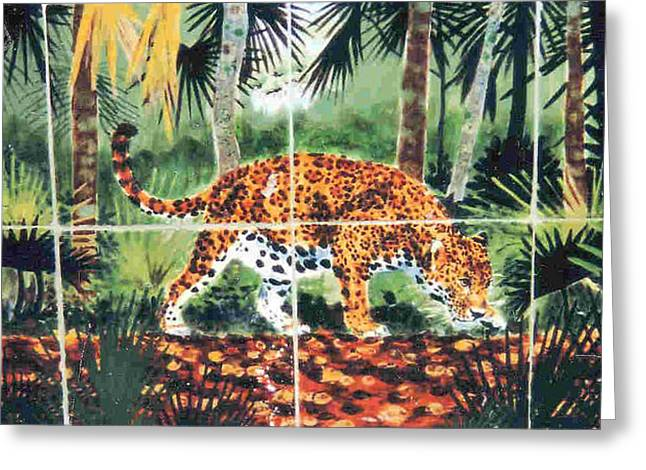 Ceramic Tile Mural Ceramics Greeting Cards - Jaguar on the Hunt Greeting Card by Dy Witt