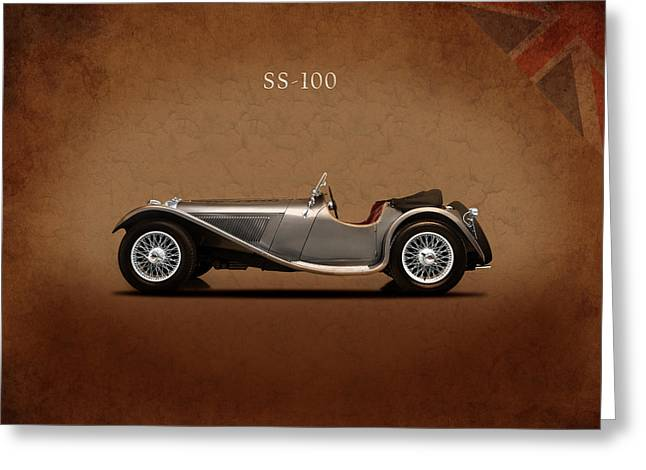 E Type Greeting Cards - Jaguar SS 100 Greeting Card by Mark Rogan