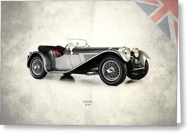 Jaguars Greeting Cards - Jaguar SS100 1936 Greeting Card by Mark Rogan