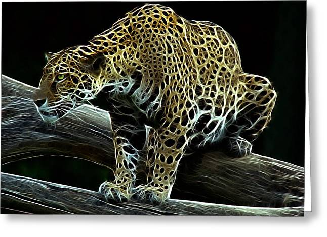 Indiana Art Greeting Cards - Jaguar Watching Greeting Card by Sandy Keeton