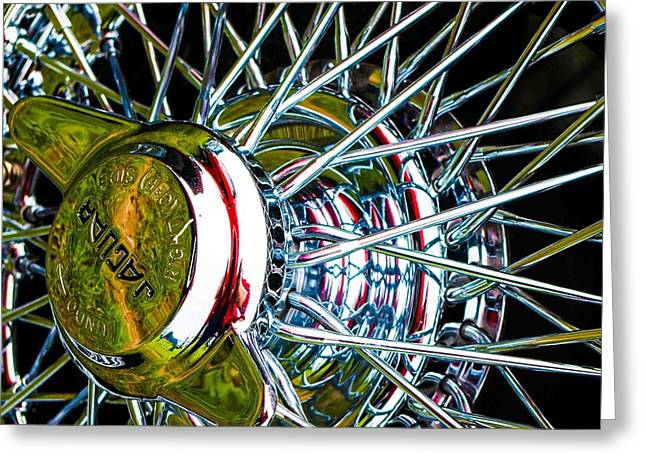 Jaguars Greeting Cards - Jaguar wire wheel Greeting Card by Chris Pointer