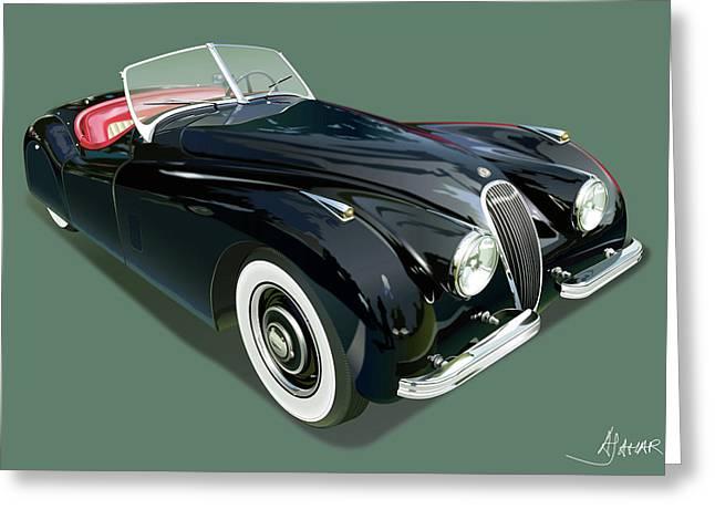 Automotive Art Greeting Cards - Jaguar XK 120 Greeting Card by Alain Jamar