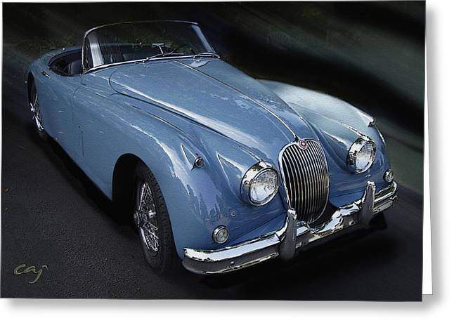 Curt Johnson Greeting Cards - Jaguar XK 150 In Blue Greeting Card by Curt Johnson
