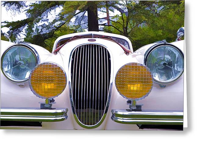 Collector Hood Ornament Greeting Cards - 1951 Jaguar XK120   Greeting Card by Allen Beatty