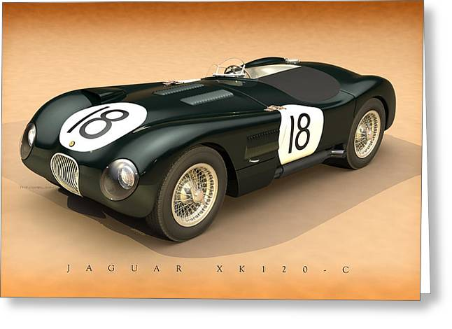 Moss Man Greeting Cards - Jaguar XK120-C Three-Quarters Greeting Card by Pete Chadwell