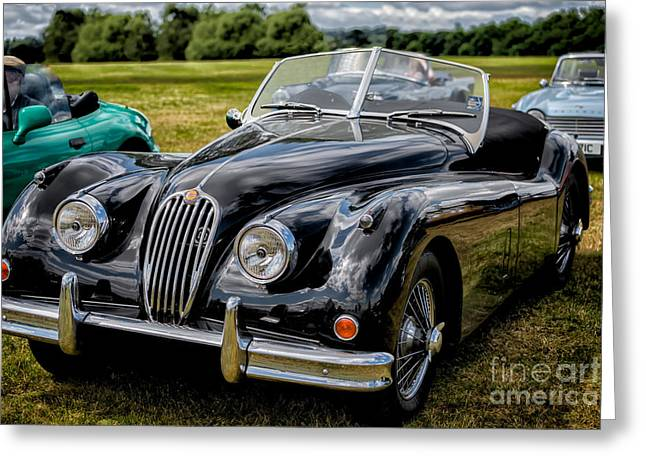 Jaguars Digital Greeting Cards - Jaguar XK140 Greeting Card by Adrian Evans