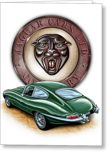 English Car Greeting Cards - Jaguar XKE British Racing Green Greeting Card by David Kyte