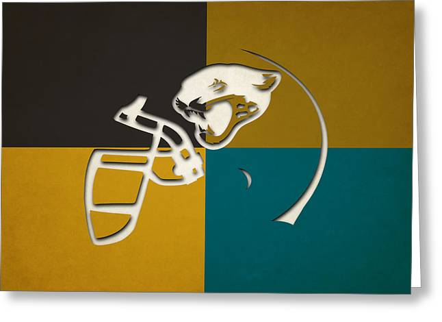 Jaguar Art Greeting Cards - Jaguars Helmet Art Greeting Card by Joe Hamilton