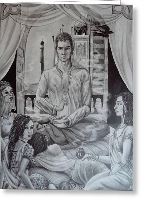 Harem Drawings Greeting Cards - Jahaj Jung and the Begum Sumroo Greeting Card by Cayla Samano