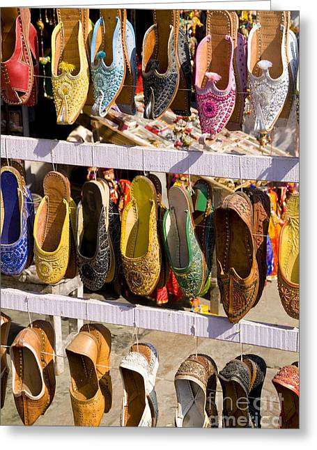 City Art Greeting Cards - Jaipur shoes for sale Greeting Card by Bill Bachmann - Printscapes