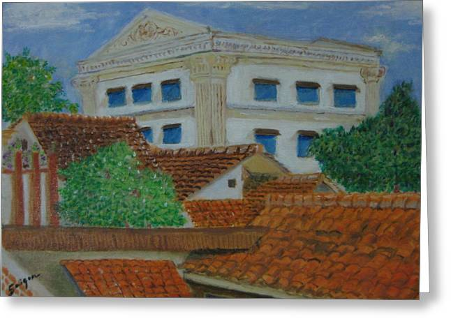 Cupola Paintings Greeting Cards - Jakarta Roofs Greeting Card by SAIGON De Manila