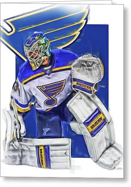 Jake Allen St Louis Blues Oil Art Greeting Card by Joe Hamilton