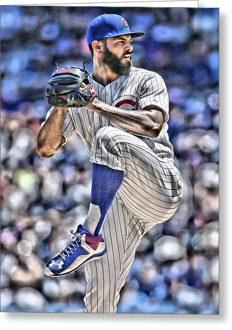 Jake Arrieta Chicago Cubs Greeting Card by Joe Hamilton