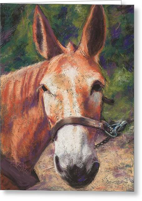 Farm Animals Pastels Greeting Cards - Jake Greeting Card by Billie Colson