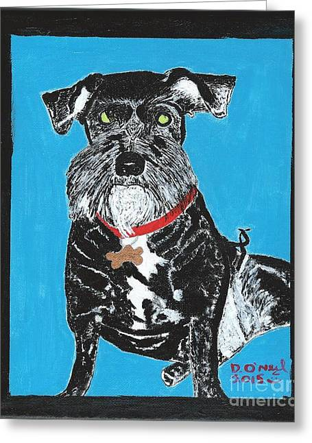 Puppies Paintings Greeting Cards - Jake Greeting Card by Dennis ONeil