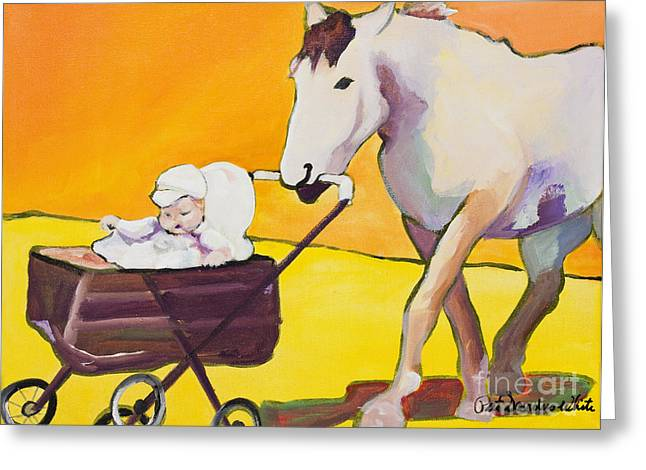 Horse Paintings Greeting Cards - Jake Greeting Card by Pat Saunders-White