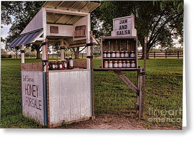 Farm Stand Greeting Cards - Jam/Salsa Stand Greeting Card by Renee\\\