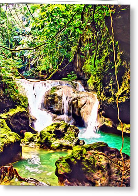 Dripping Vines Greeting Cards - Jamaica Waterfall Greeting Card by Anthony C Chen