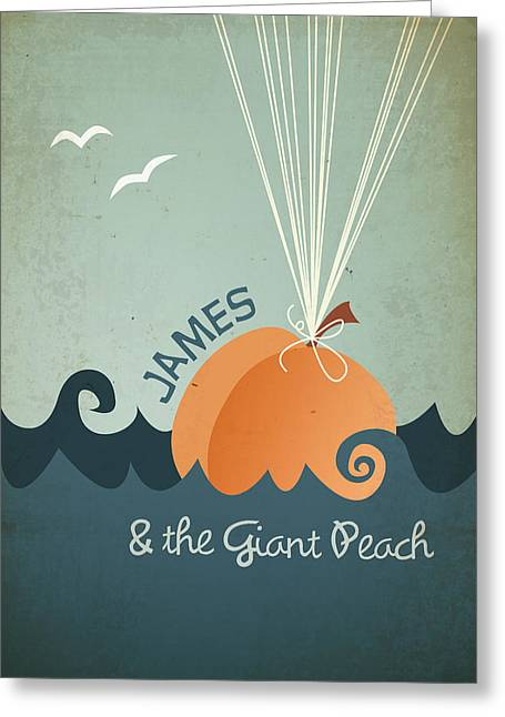 Peaches Greeting Cards - James and the Giant Peach Greeting Card by Megan Romo