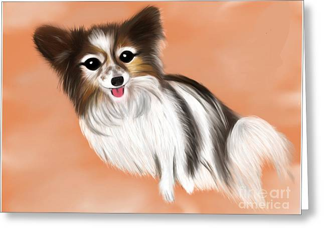 Puppy Digital Art Greeting Cards - James Blonde - a Papillon with celebrity status Greeting Card by Beverley Brown