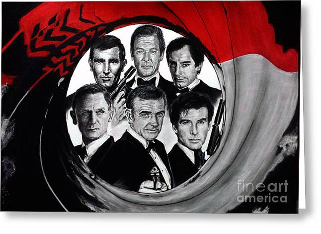 Live And Let Die Greeting Cards - James Bond Tribute Greeting Card by S G Williams