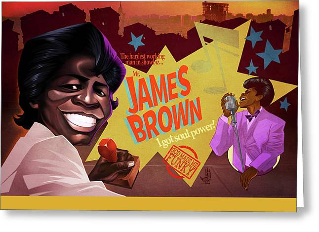 James Brown Greeting Card by Nelson Dedos Garcia