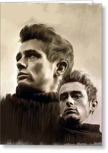 James Dean Prints Drawings Greeting Cards - James Dean  Duality  Greeting Card by Iconic Images Art Gallery David Pucciarelli