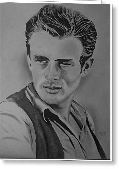 James Dean Drawings Greeting Cards - James Dean Greeting Card by John Wood