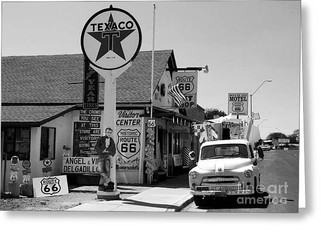 James Dean Greeting Cards - James Dean on Route 66 Greeting Card by David Lee Thompson