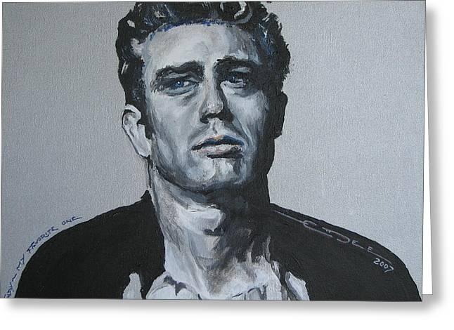 Torment Paintings Greeting Cards - James Dean one Greeting Card by Eric Dee