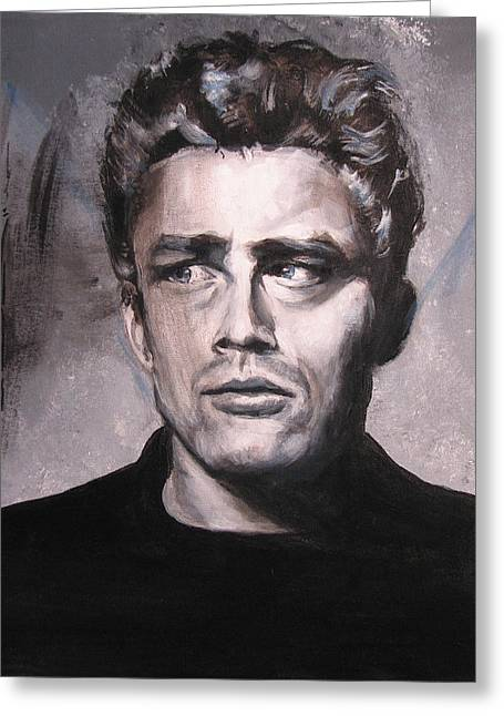 Celebrity Portrait Greeting Cards - James Dean two Greeting Card by Eric Dee