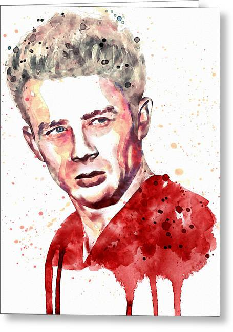 Man Without A Star Greeting Cards - James Dean watercolor Greeting Card by Marian Voicu