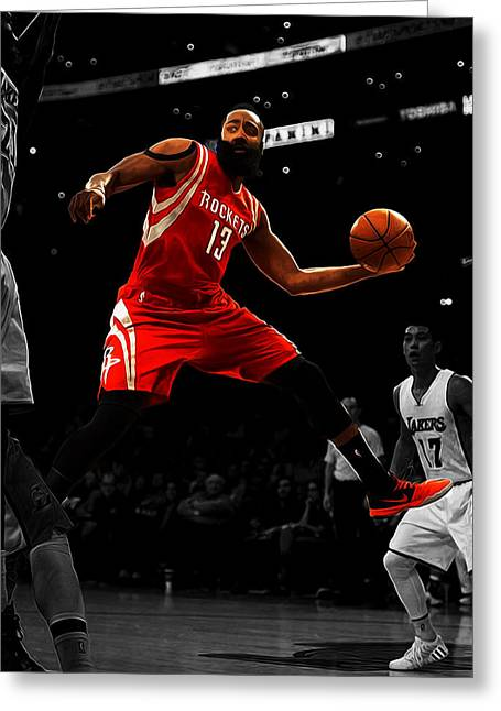 James Harden Greeting Card by Brian Reaves