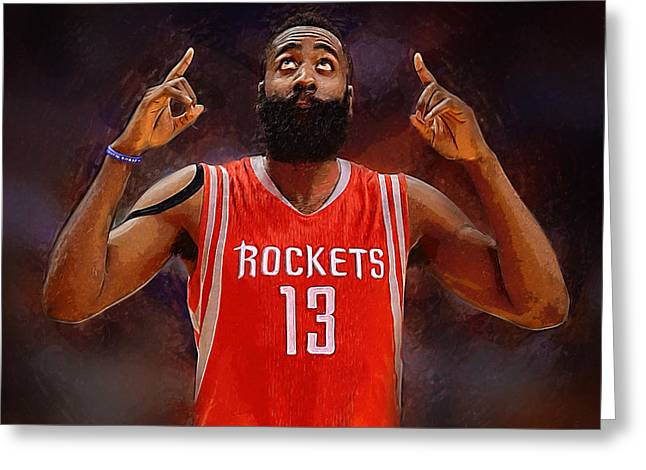 Artest Houston Rockets Greeting Cards - James Harden Greeting Card by Semih Yurdabak