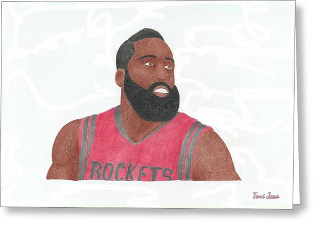 Artest Houston Rockets Greeting Cards - James Harden Greeting Card by Toni Jaso