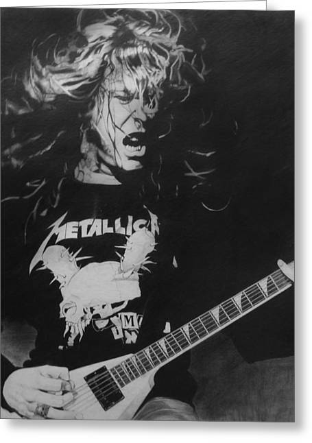 Photo Realism Greeting Cards - James Hetfield Pencil 1987 Greeting Card by Brian Carlton
